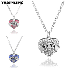 XIAOJINGLING Long Necklace Pink White Blue Crystal Heart Nana Necklaces & Pendants Sweater Chain Necklace For Women Jewelry Gift(China)