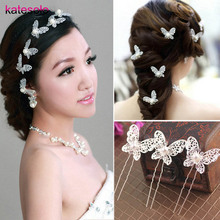 5PCS/Lot Hair Sticks bridal wedding hair accessories head jewelry pearl hair pins Butterfly bride wedding hair jewelry