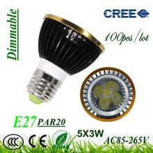 100X Dimmable E27 / GU10 / GU5.3 / E14 Par20 9W 12W 15W AC85-265V High Power Led Light Bulbs LED Lamp Spotlight Good quality(China)