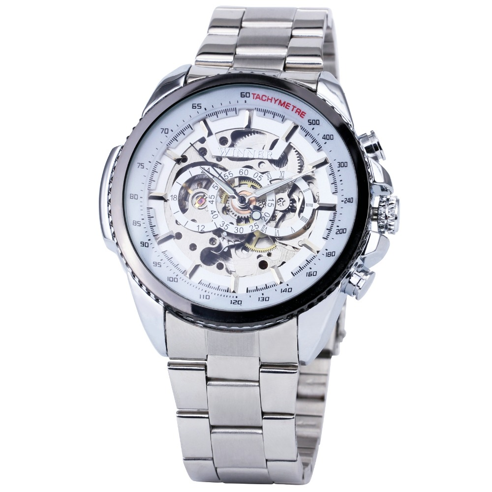 2017 WINNER Top Brand Men Automatic Wrist Watches Silver Stainless Steel Band Male Mechanical Clock Skeleton Dial Luminous Hands<br><br>Aliexpress