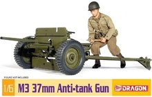1:6 DIY Assembly Dragon Model Toy WWII U.S. M3 37mm Anti-tank Gun Action Figure 75029