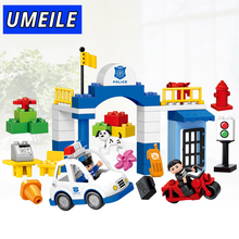 UMEILE Brand 51PCS Original City Policeman Thief Car Dog Educational Baby Toys Brick Set Compatible with Duplo Christmas Gift