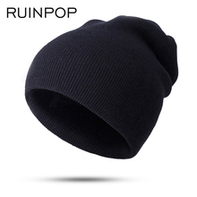 RUINPOP Fashion Warm Knitted Hat Women Winter Hat Cap For Women Skullies Beanies Warm Winter Cap Men Brand Beanie Hat Wholesale(China)