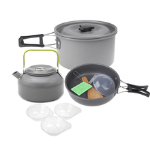 Aluminum Oxide Outdoor Camping Pot Set Hiking Backpacking Cookout Picnic Cookware Teapot Coffee Kettle Set All in One 2-3 People(China)
