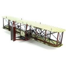 Colorful Ww2 Wright Brothers Biplane Airplane Fun 3D Metal DIY Miniature Model Kits Puzzle Toy Children Educational Boy Splicing(China)