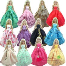 Baby girl kids birthday gift 30items=10dress+10 shoes+10accessories Doll' s Wedding Dress Clothes Gown dress For Barbie doll(China)