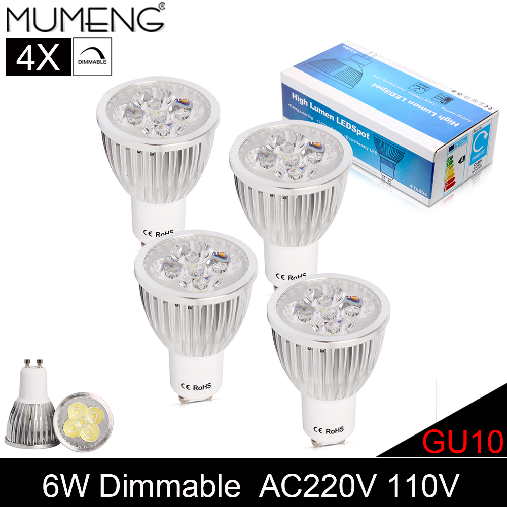 MUMENG GU10 LED Light Bulbs 6W Dimmable Spotlight 5pcs Chips Energy saving Lampada AC220V 110V Spot Light For Chandeliers 4X<br><br>Aliexpress