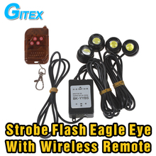 Car styling LED Eagle eye DRL 4*3W Strobe Flash Eagle Eye daytime running light Wireless Remote strobe controller parking light(China)