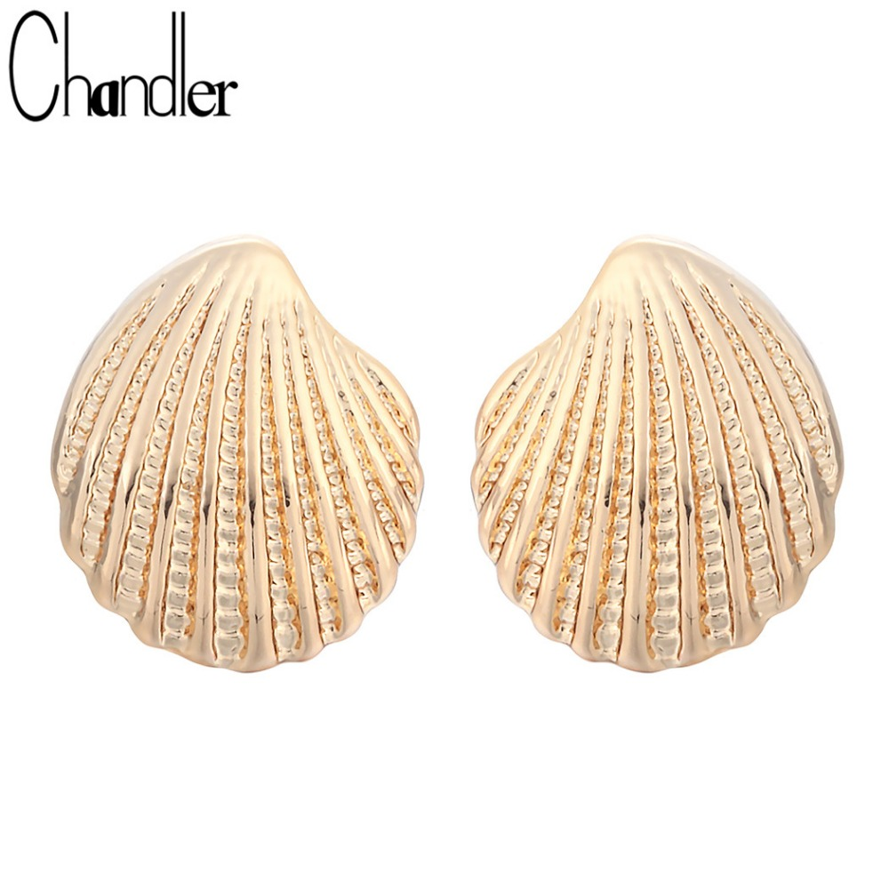 Chandler Minimalist Vintage  Plated Gold Shell Stud Earrings For Women Girls Maxi Jewelry Romantic Wedding Bridal Accessaries