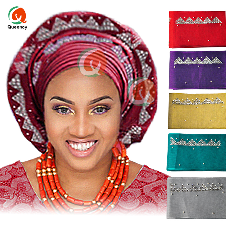 2017African wholesales aso oke gele Nigeria headtie stones and beads mutil-color Length 8.6m real product photo,Free shipping.(China)