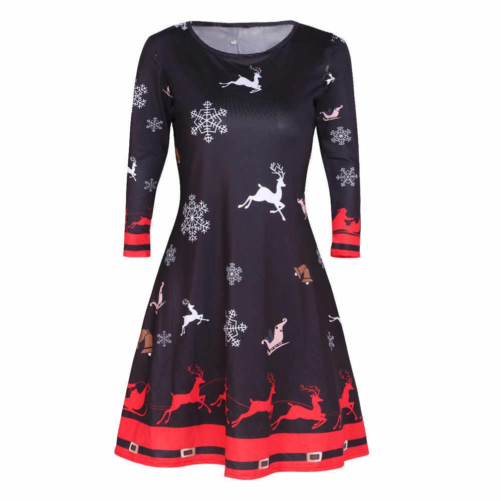 e7f6a6a17e CHAMSGEND Women Christmas Dress High Quality Womens Santa Skater Ladies  Snowman Swing Dress Vintage O-