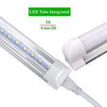 Integrated LED Tube T8 2ft 10W Led Bulbs Tubes T8 48LEDs SMD2835 Super Bright 1000lm Led Fluorescent Lights AC85-265V CE FCC