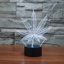 Marijuana Leaf 3D Illusion Lamp Cananbis Weed Optical Visual Night Light Room Party Deco Lighting Manufacturer(China)