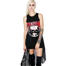 women dress 2017 summer Harajuku street fashion gothic rock style cut out casual short design goth punk mini tee dresses black(China)