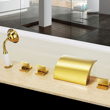 Free ship Waterfall Roman Tub shower Deck Mount 5Pcs widespread GOLD PVD Bath Mixer(China)