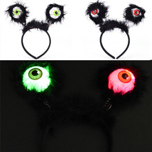 Halloween LED Flashing Alien Headband Black Feather Light-Up Eyeballs Hair Band Glow Party Supplies led Accessories