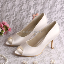 Wedopus MW1203A Simple Design Beautiful Women Satin Peep TOE Elegant Shoes Wedding Manufacture