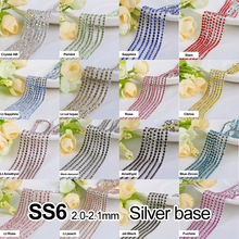 Rhinestones chain 17 Color 3Yards/lot SS6(2.0-2.1MM) Silver claw  fou Garment free shipping