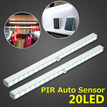 1.6W 20 LED Bar light Battery Powered Wireless PIR Motion Sensing Closet Under Cabinet LED Stairs Night Light 80LM