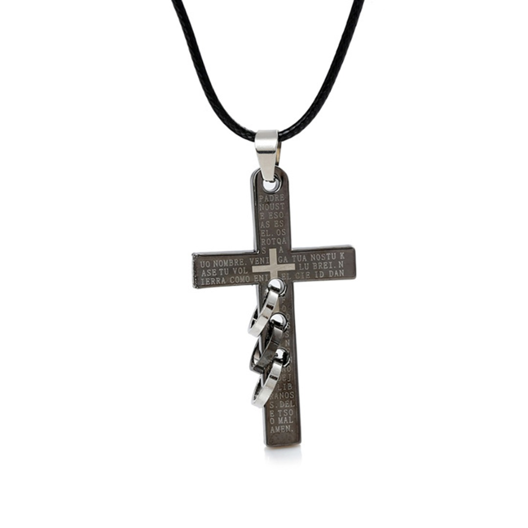 Hot Fashion Charms New Bible Holy Cross Three Ring Around Stainless Steel Men Necklace Shellhard Christian Prayer Chain Jewelry