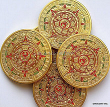 free shipping wholesale Mayan Prophecy calendar 2012 Commemorative Coin & Mint Mayan AZTEC 24k .999 gold coin ,10pcs/lot(China)