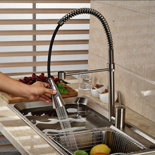 Brushed Nickel Kitchen Sink Bar Mixer Tap Single Lever Rotation Pull Down Kitchen Faucet with Hot Cold Water