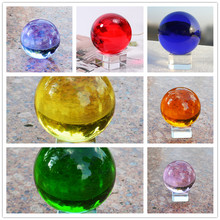 80mm Various Colors Crystal Ball Feng Shui Glass Sphere Exorcise Evils Crafts Mascot For Souvenirs Office Home Decoration Gifts