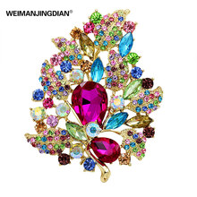 Fashion Trendy Crystal Rhinestones Large Size Leaf Brooches in assorted colors