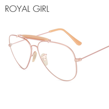 ROYAL GIRL Fashion Women Glasses Frames Men Transparent Metal Sunglasses Brand Designer Aviation Clear Lens Sunglasses SS917(China)