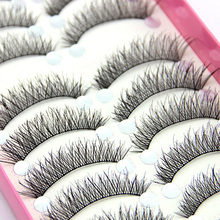 10 Pairs Natural Cross Elongated Eye Lashes Wedding Party Makeup False Eyelashes