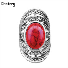 Buy Victoria Hollow Flower Oval Stone Rings Women Vintage Antique Silver Plated Fashion Jewelry TR224 for $1.19 in AliExpress store