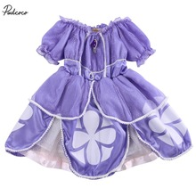 2016 girl dress Kids Girls Little Sophia Princess Party Fancy Dress Up Cosplay Party Costume 2-7