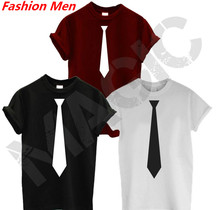 Buy Tie Print Men T shirt Fashion Casual Funny Shirt Man Black White Top Tee Hipster Hip-hop Street ZT-97 for $9.90 in AliExpress store
