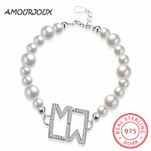 AMOURJOUX Pretty 925 Sterling Silver Double M With Clear Zircon Charm Bracelets For Women Silver 925 Bracelet Jewelry Best Gift
