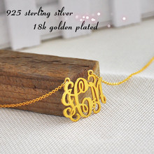 Wholesale Vermeil Monogram Necklace Personalized 3 initial Pendent Custom Name Jewelry colar