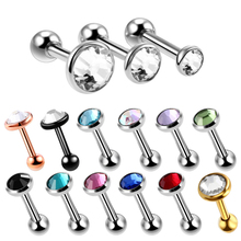 Buy 3Pcs/lot Surgical Steel Crystal Cartilage Helix Barbell Bar Ear Stud Piercing 16G Earring Piercings Jewelry Sexy Girls for $1.48 in AliExpress store