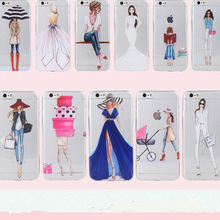Clear Mobile Phone Case For iphone 4 4s 5 5s 5se 6 6s 7 Case Capa Fashion Shopping Casual Girls Pattern White Coque Shells Funda