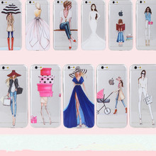 Clear Mobile Phone Case For iphone 4 4s 5 5s 5se 6 6s 7 Case Capa Fashion Shopping Casual Girls Pattern White Coque Shells Funda(China)