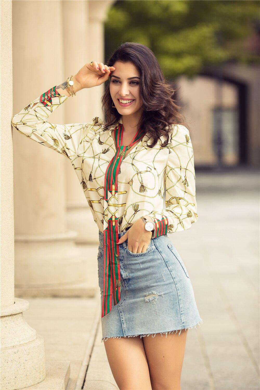 2018 Spring Women Fashion Blouse Bow Ribbon Striped Shirt Black Beige Casual Office Shirts Print Female Big Size Tops Zevrez 12