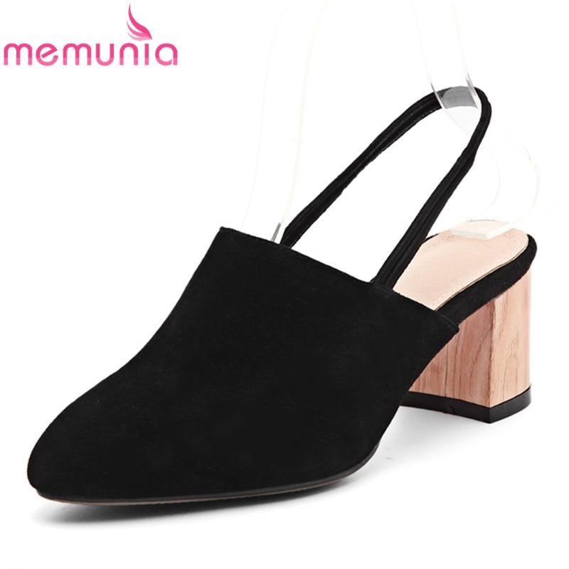 MEMUNIA 2017 new arrive spring autumn single shoes fashion slingbacks cow suede women pumps  high heels shoes<br>