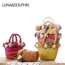 Luna&Dolphin Women Corn Bran Bag Casual Totes Large Capacity Beach Bag Flower Big Handbags Female Shopping Beach Bags(China)