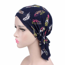 Women Cotton Bandanas Pre Tied Floral Feathers Print Beanie Stretchy Headwear Hat Hair Loss Sleeping Cap Ladies Turbante(China)