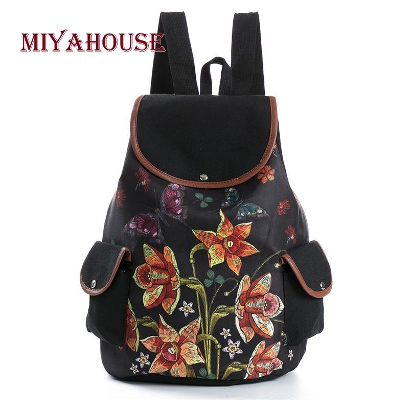 Cute Women Girls Lace Drawstring Vintage Canvas Rucksack Backpacks School Bags