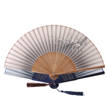 New Lace Bamboo Handheld Folding Fans White Plum Flower Pattern Fans For Girls Women
