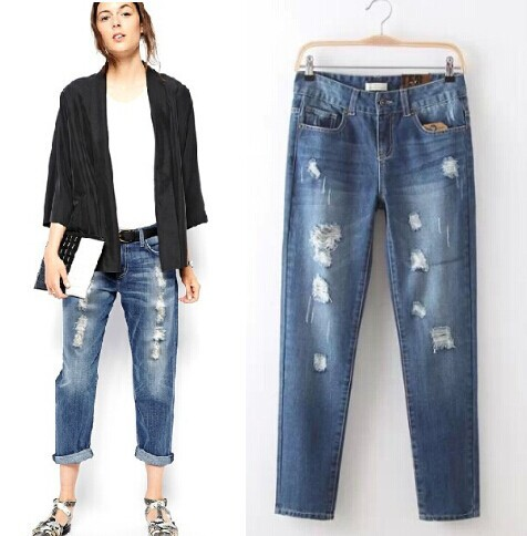 Fashion Womens Jeans Slim Hole Ripped Washed Scratched Vintage Harem Jeans  Casual Boyfriend Wind - Breaking Hole In JeansОдежда и ак�е��уары<br><br><br>Aliexpress