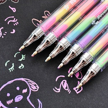6Pcs Cute Design Ink 6 Colors Highlighter Pen Marker Stationery Point Pen Colorful Stationery Writing Supply Girls Painting Pens(China)