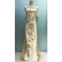 2018 Latest popular gold beaded lace fabrics african tulle laces fabric with beads for wedding dress french net lace JA41-2(China)