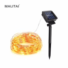 MALITAI Solar Power LED Copper Wire String lamp 10M 20M Fairy Outdoor light Decorative Holiday Garden Lawn Patio Wedding Party