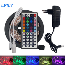 LPILY 5050 SMD 5M RGB LED Strip light led ribbon non waterproof IP20 led Flexible Tape+LED Controller+adapter for decoration(China)