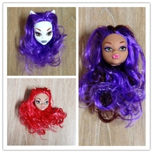 Kids Toy Demon Monster Doll Head with Purple Red Hair DIY Accessories For Monster High Doll For 1/6 BJD Doll House